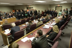"A House Committee hearing on ""Right to Work"" legislation brought a standing-room only crowd to the room in the basement of the State Capitol.  (photo courtesy; Tim Bommel, Missouri House Communications)"