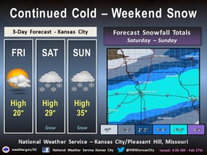 This weather graphic from the National Weather Service includes predicted total snowfall by Sunday night.