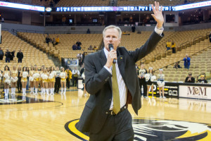 Kim Anderson thanks the crowd for their support following the Auburn win (photo/Mizzou Athletics)