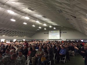 A standing room only crowd turned out for the listening session to discuss the proposed cutting of up to 5,400 jobs at Fort Leonard Wood.  (Courtesy; U.S. Rep. Vicky Hartzler on Twitter, @RepHartzler)