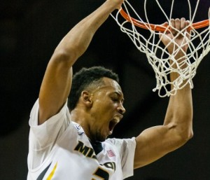 Jonathan Williams III dunks in the SEC opening win over LSU (photo/Mizzou Athletics)