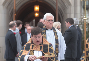 Former U.S. Senator John Danforth, an ordained Episcopal priest, helps lead a procession following the funeral for Missouri Auditor Tom Schweich at the Church of St. Michael and St. George in Clayton, Missouri on March 3, 2015. The 54-year-old Republican auditor fatally shot himself at his home on February 26. Scweich, a candidate for Missouri Governor was the target of a radio ad that ridiculed his appearancence and accused him of being a pawn for the Democrats. Photo by Bill Greenblatt/UPI