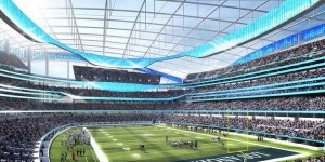 One of the artists' renderings of the proposed new NFL stadium on the St. Louis Riverfront.