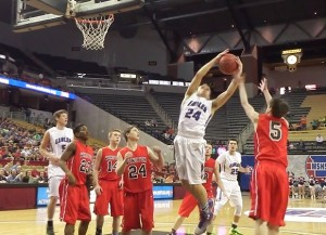 Logan Newlin grabs an offensive rebound for Meadville