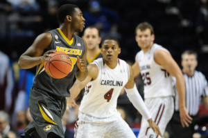 Montague Gill-Caesar dribbles the ball against USC defenders. (photo/Mizzou Athletics)