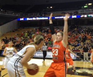 Naylor's Shayna Tharp is guarded by Walnut Grove's Audree Crain in the closing seconds of the Class 1 title game