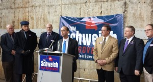 State Auditor Tom Schweich is joined by several state lawmakers as he formally announced his run for governor.
