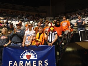 Walnut Grove fans cheer on their girls team Thursday afternoon at Hearnes Center