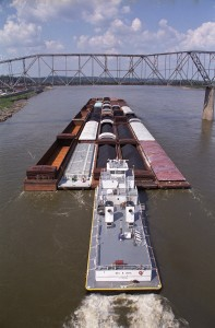 Barges on the Missouri River (courtesy; Missouri Department of Transportation)