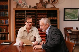 Bill Paxton visits with Missouri Historian Gary Kramer.  (Photo courtesy of TLC)