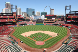 Busch Stadium grounds crew members put the finishing touches on the field in St. Louis on April 10, 2015. The St. Louis Cardinals begin the 2015 home season at Busch Stadium on April 13, 2015. Photo by Bill Greenblatt/UPI