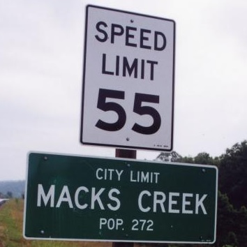 The little town of Macks Creek was disbursed after a state law was created said municipalities could no longer make most of their annual revenue with traffic tickets and fines.  That law now bears the former town's name.