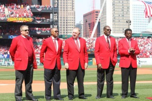 Red Schoendienst (middle) will be honored by the Cardinals for 70 years of baseball service (Bill Greenblatt/UPI files)