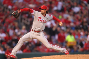Philadelphia Phillies starting pitcher Cole Hamels delivers a pitch to the St. Louis Cardinals in the second inning at Busch Stadium in St. Louis on April 27, 2015.  Photo by Bill Greenblatt/UPI