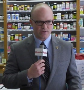 State Representative Travis Fitzwater at Whaley's Drugstore in Jefferson City says he is thankful Missouri has the NPLEx system rather than requiring a prescription for pseudoephedrine.