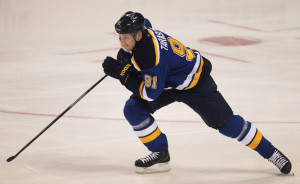 St. Louis Blues Vladimir Tarasenko of Russia skates down the ice against the Minnesota Wild in the first period at the Scottrade Center in St. Louis on April 11, 2015. Takasenko returns to the lineup after missing five games with a lower body injury.    Photo by Bill Greenblatt/UPI