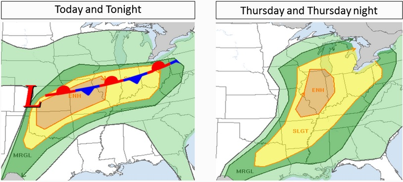 This weather graphic from the National Weather Service illustrates where the elevated risk for severe weather is being predicted for today and tomorrow.