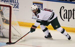 Minnesota Wild Jason Zucker wraps around the goal putting the puck in against the St. Louis Blues during the first period of Game 1 of the Stanley Cup playoffs at the Scottrade Center in St. Louis on April 16, 2015. Photo by Bill Greenblatt/UPI
