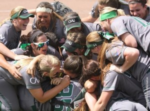 Central Methodist celebrates their 5-2 win over Bellevue.  The teams meet again Thursday (photo/CMUEagles.com)