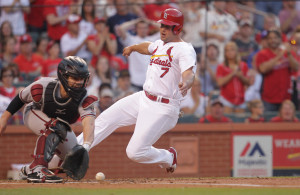 St. Louis Cardinals Matt Holliday scores before the tag by Arizona Diamondbacks catcher Tuffy Gosewisch in the first inning at Busch Stadium in St. Louis on May 26, 2015. Photo by Bill Greenblatt/UPI