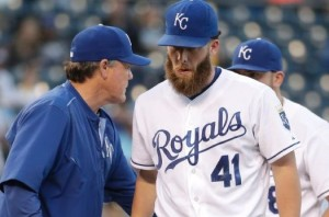 Danny Duffy gets the early hook from manager Ned Yost. (photo/Royals)