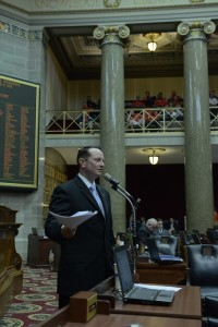 Representative Eric Burlison carried the 'right to work' bill in the state House.  (Photo courtesy; Tim Bommel, Missouri House Communications)