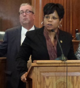 Senator Jamilah Nasheed (at podium) and Senate Minority Leader Joe Keaveny