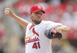 St. Louis Cardinals starting pitcher John Lackey delivers a pitch to the Chicago Cubs in the second inning at Busch Stadium in St. Louis on May 7, 2015.   Photo by Bill Greenblatt/UPI