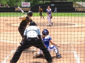 Kirsten Mack sees a pitch during the regional final against Kansas