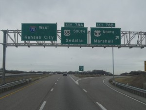 Expect delays just west of the Hwy 65 exit on westbound I-70 this weekend (photo/MoDOT)