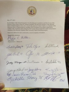 Representative Gina Mitten circulated this petition in the state House seeking the removal of John Diehl, Junior as Speaker.