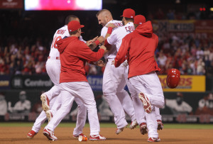 St. Louis Cardinals Matt Adams celebrates with teammates after hitting a walk off RBI single in the tenth inning against the Pittsburgh Pirates in the at Busch Stadium in St. Louis on May 1, 2015. St. Louis won the game 2-1.  Photo by Bill Greenblatt/UPI