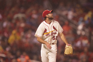 St. Louis Cardinals starting pitcher Michael Wacha watches a three run home run ball go into the seats off the bat of Los Angeles Dodgers Yasmani Grandal in the sixth inning at Busch Stadium in St. Louis on May 30, 2015. Los Angeles won the game 5-1. Photo by Bill Greenblatt/UPI