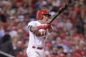 St. Louis Cardinals Kolten Wong watches his solo home run leave Busch Stadium in the sixth inning against the Detroit Tigers in St. Louis on May 17, 2015. The home run proved to be the winner as St. Louis defeated Detroit 2-1.  Photo by Bill Greenblatt/UPI