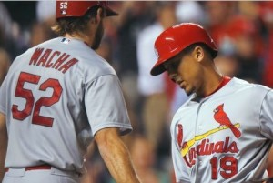 Jon Jay scored the Cardinals first run (photo/MLB)