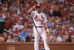St. Louis Cardinals Kolten Wong throws his bat after striking out to end the fifth inning against the Milwaukee Brewers in at Busch Stadium in St. Louis on June 1, 2015. Milwaukee won the game 1-0. Photo by Bill Greenblatt/UPI