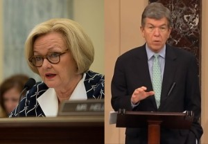 Numerous messages of support for U.S. Senator Claire McCaskill (left) were put on social media by Senator Roy Blunt (right) and others after she announced she has breast cancer.