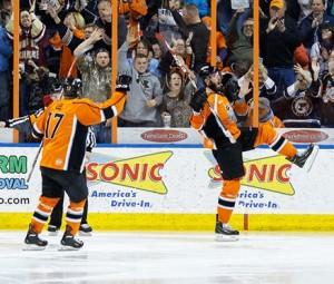 The Mavericks celebrate a goal this past season in Independence (photo/missourimavericks.com)