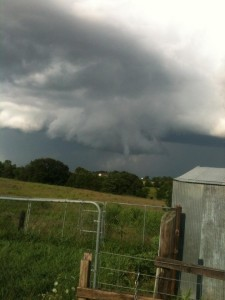 This funnel was spotted southwest of New Bloomfield, Sunday night.  (courtesy; Facebook)