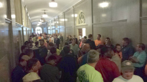 "Union members filled the hall outside the Senate Hearing on the ""right-to-work"" bill, May 11, 2015."