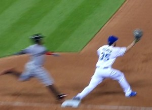 This screen shot from the Fox Sports broadcast clearly shows the ball in Hosmer's webbing while the foot of Ramirez is off the bag.
