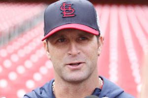 St. Louis Cardinals manager Mike Matheny talks to reporters during a light practice at Busch Stadium in St. Louis on October 21, 2013. The Cardinals prepare to take on the Boston Red Sox in the World Series on October 23, 2013.  UPI/Bill Greenblatt