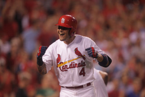 A happy St. Louis Cardinals Yadier Molina heads to the dugout after hitting a solo home run in the fourth inning against the Minnesota Twins at Busch Stadium in St. Louis on June 15, 2015. St. Louis defeated Minnesota 3-2.   Photo by Bill Greenblatt/UPI