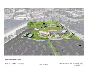 An artist's rendering of the new Mizzou softball complex looking north.  Hearnes Center will be west of the new stadium.