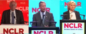 Democratic candidates for president Bernie Sanders, Martin O'Malley, and Hillary Clinton spoke at the conference of the National Council of La Raza at Kansas City's Bartle Hall.