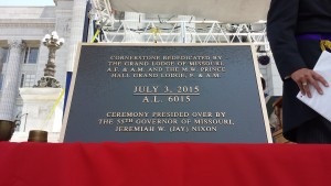 The plaque that will be placed to mark the re-dedication of the cornerstone.