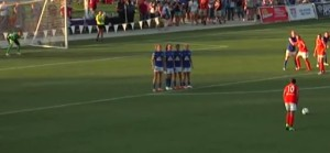 Carli Lloyd, World Cup MVP, lines up for a free kick against FC Kansas City.  She scored on the play.