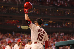 St. Louis Cardinals Randal Grichuk tips his cap to the crowd after hitting his second home run of the night against the the New York Mets in the eighth inning at Busch Stadium in St. Louis on July 18, 2015. Grichuk went 3-3 with two home runs and six RBI's in the 12-2 win over New York.  Photo by Bill Greenblatt/UPI