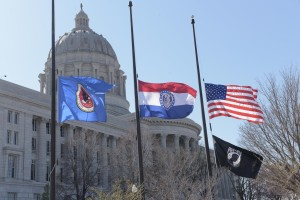 Flags at state buildings like the Capitol would be lowered to half mast for a week, rather than just a day, in honor of fallen law enforcement officers, under one of the bills signed into law by Governor Nixon.  (photo courtesy; Tim Bommel, Missouri House Communications)