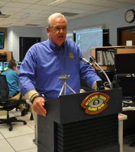 Governor Jay Nixon discusses the damage caused by flooding in Missouri so far this spring and summer.  (photo courtesy; Timothy W. Church, KRZK)